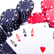 Playing cards and poker chips — Stock Photo