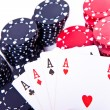 Playing cards and poker chips — Stock Photo #5295528