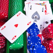 Poker chips with ace — Stock Photo