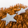 Christmas silver decoration with tinsel — Стоковая фотография