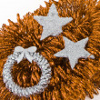 Christmas silver decoration with tinsel — Stock Photo