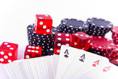 Aces, dice and poker chips — Stock Photo