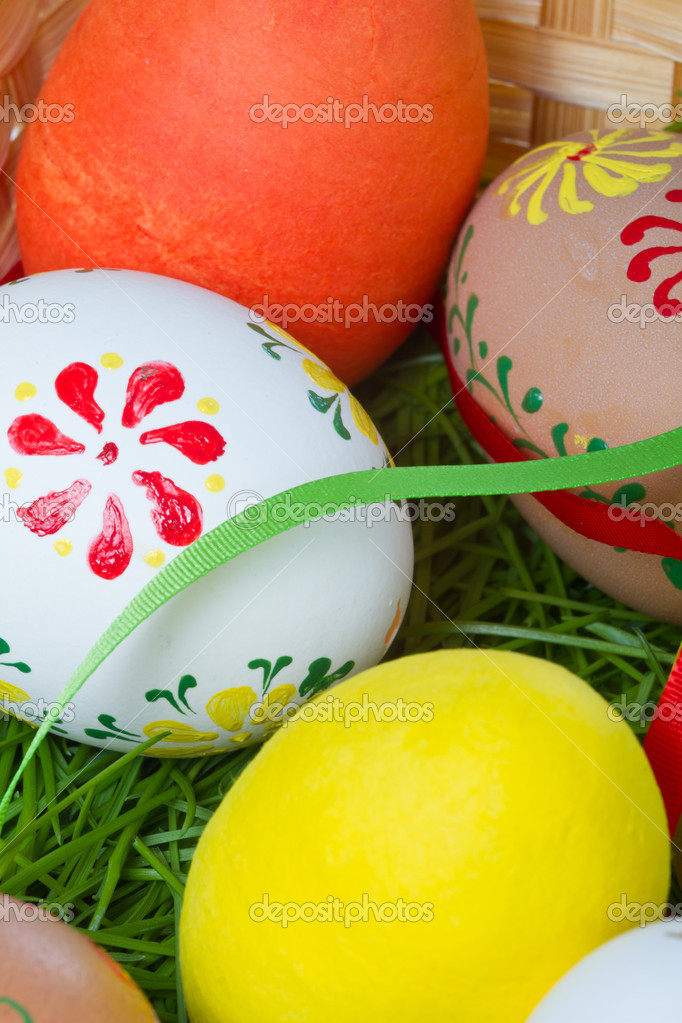 Easter eggs collection in a basket — Stock Photo #5293774