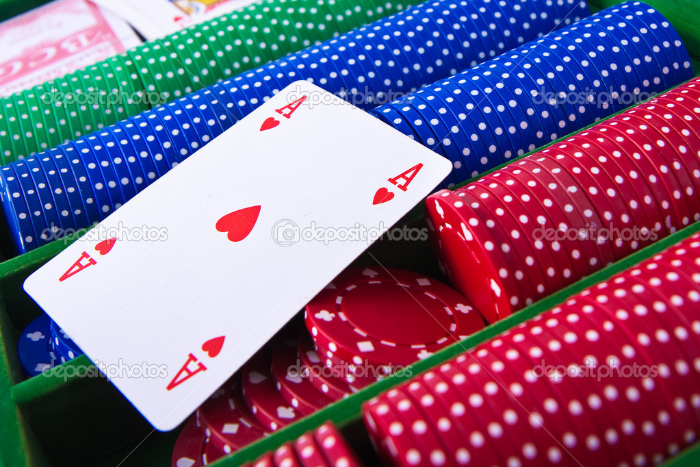 Colorful poker chips with ace card — Stock Photo #5295241