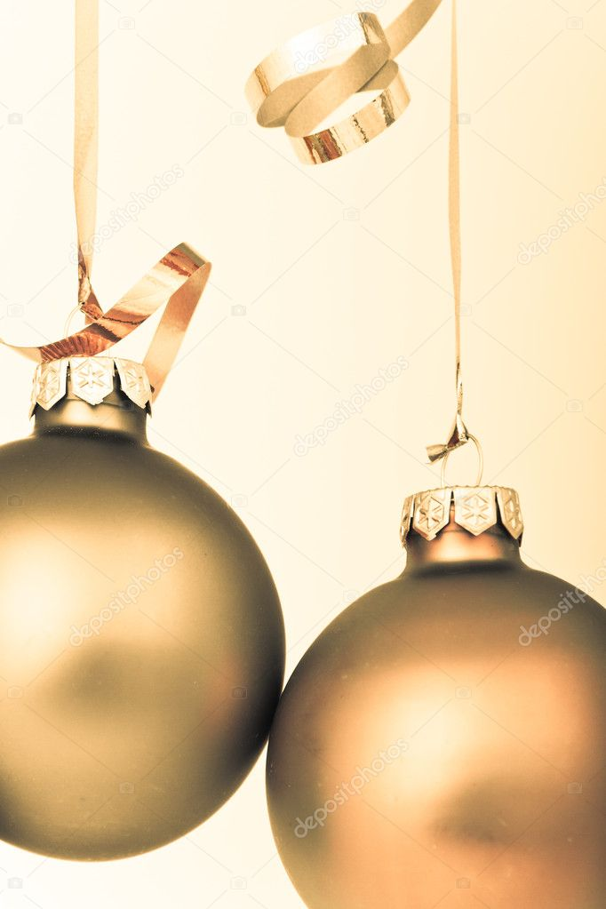 Hanging Christmas decoration on white background  Stock Photo #5295431