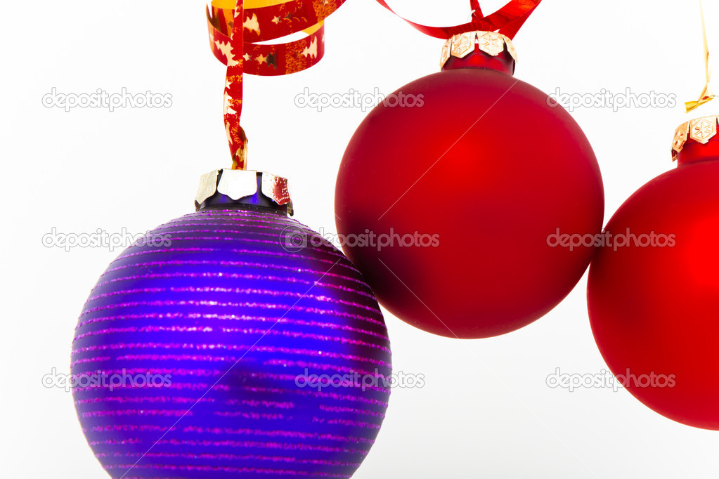 Hanging Christmas decoration on white background  Stock Photo #5295813