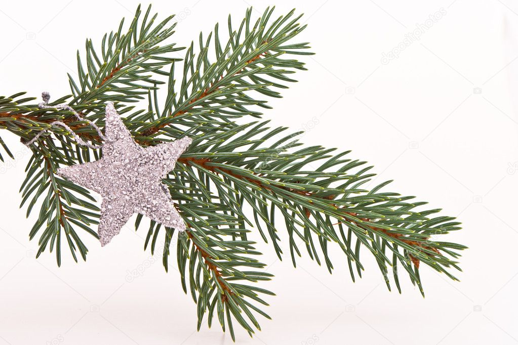 Decorated Christmas tree on white background  Stock Photo #5298259