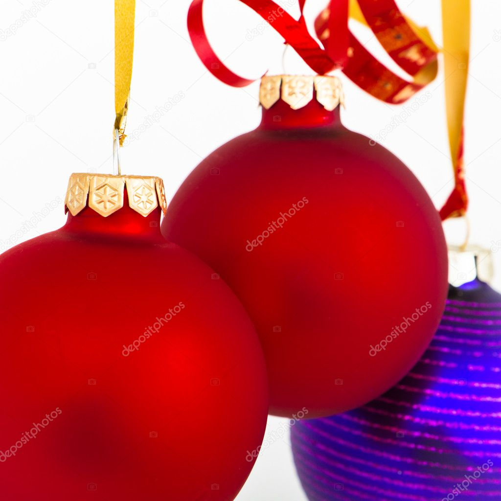 Hanging Christmas decoration on white background — Stock Photo #5298693