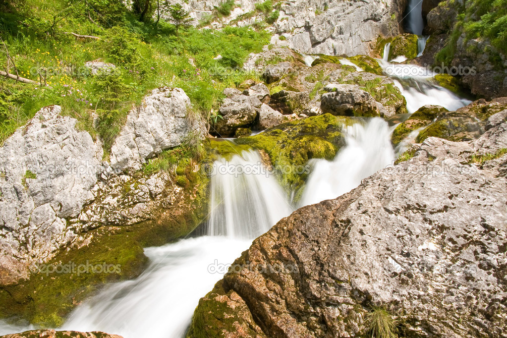 A mountain waterfall in slovenia — Stock Photo #5299447
