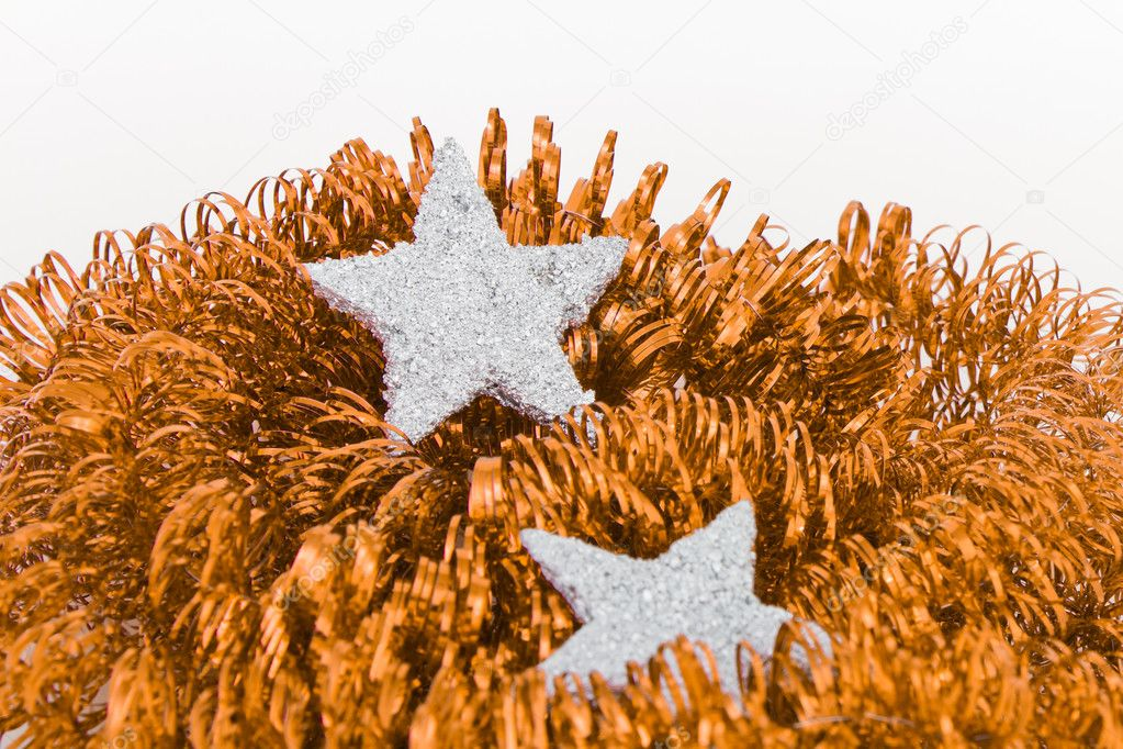 Christmas silver decoration with tinsel — Stock Photo #5299510