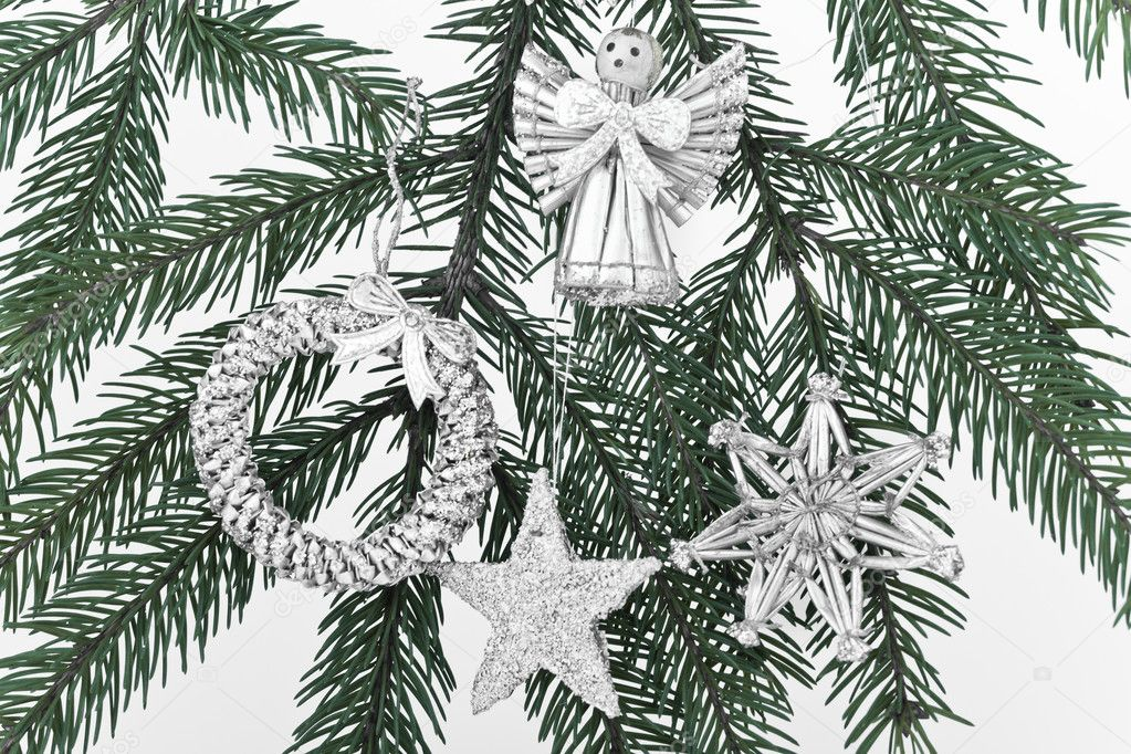Decoration on Christmas tree isolated  Stock Photo #5299596