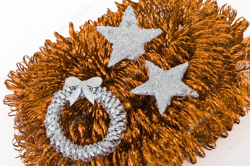 Christmas silver decoration with tinsel — Stock Photo #5299927