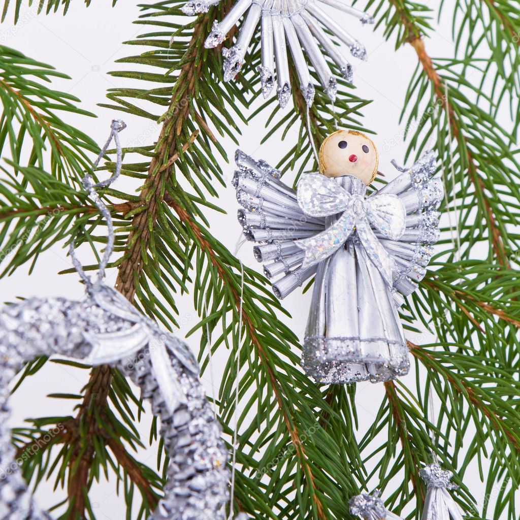 Decoration on Christmas tree isolated — Stock Photo #5300125