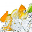 Citrus fruit splashing - Stock Photo