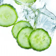 Cucumber in water — Stock Photo