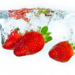 Strawberry in the water — Stock Photo