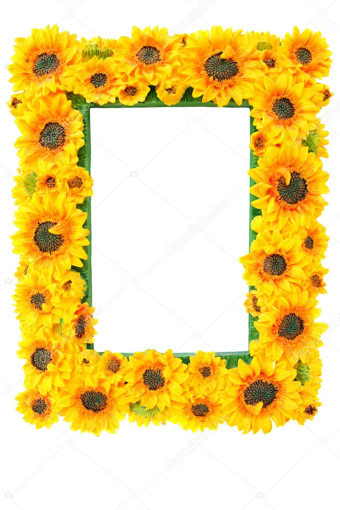 Photo Frame with Sunflowers  isolated on the white background                                 — Stock Photo #4000110
