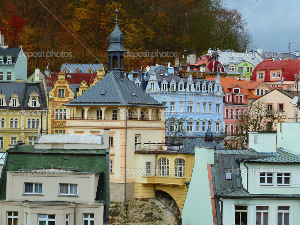 View over the rooftops of the old city. Karlovy Vary, Czech Republic   Stock Photo #5053039