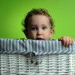 Baby sitting in a basket — Stock Photo