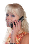 Portrait of blond woman phoning — Stock Photo