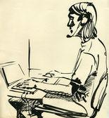 Ein junge, der auf dem computer spielen — Stockfoto