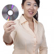 Woman with DVD — Stock Photo