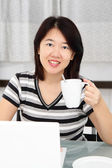 Woman with coffee — Stock Photo
