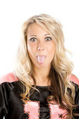 Ridiculous portrait of the blonde — Stock Photo