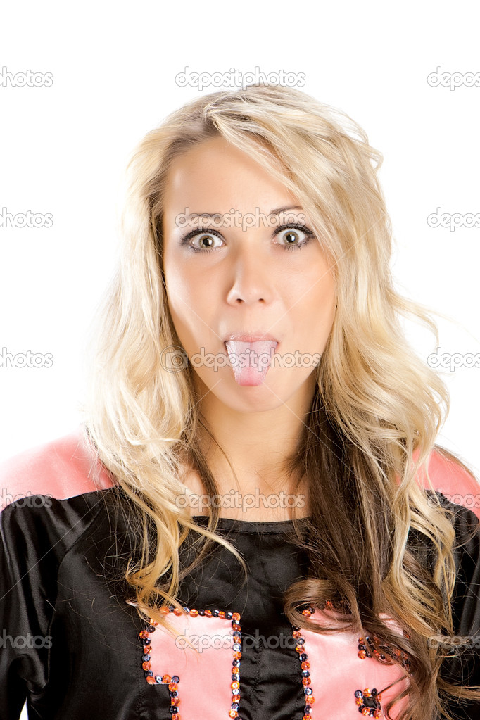 Ridiculous portrait of the blonde which puts out the tongue — Stock Photo #4914696
