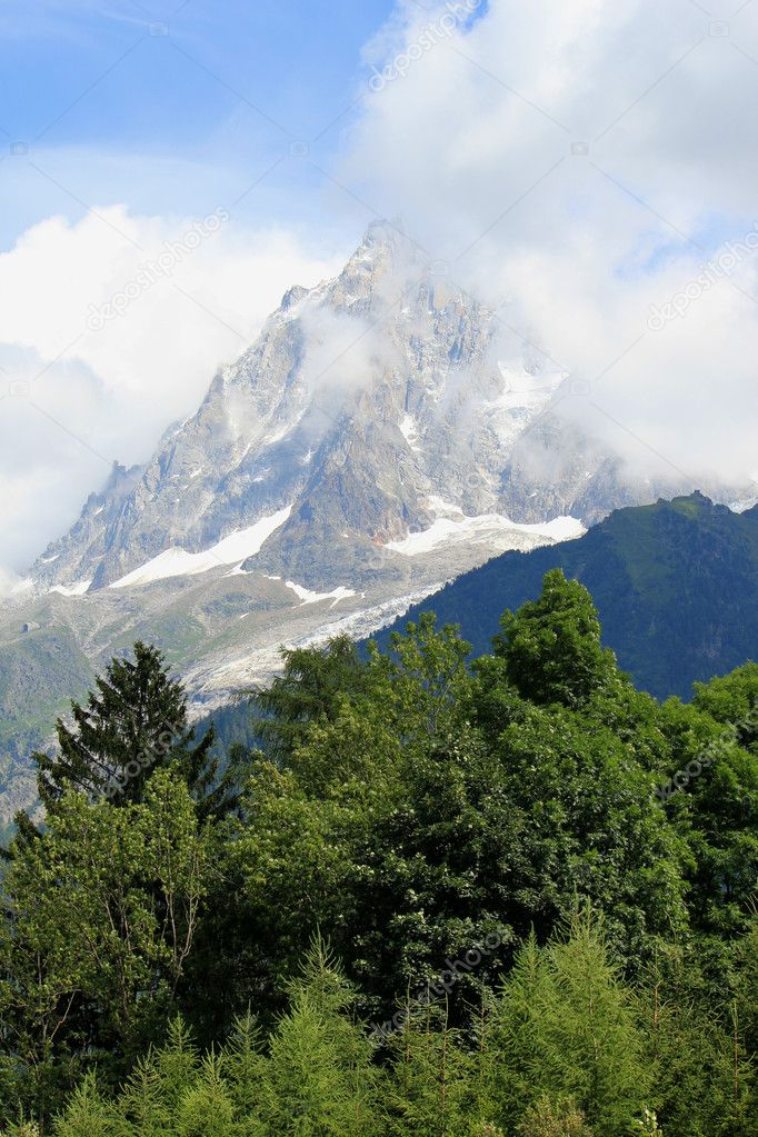 View of the Mont-Blanc massif behind a forest, France, by cloudy weather — Stock Photo #4489544