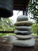 Zen stones and japenese bell — Stock Photo