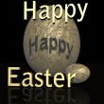 Happy easter golden eggs — Stock Photo