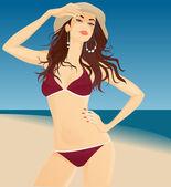 Glamour girl on the beach — Stock Vector