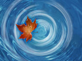 Leaf floating in river — Stock Photo