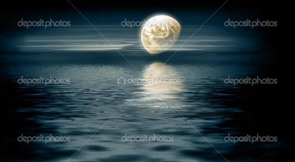 Moon over the sea - night landscape — Stock Photo #4588414
