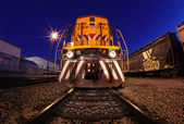 Creative lightpainted train on the tracks in Los Angeles, CA — Stock Photo