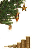 Christmas tree and money — Stock Photo