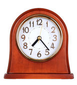 Wooden clock isolated on the white background — Stock Photo