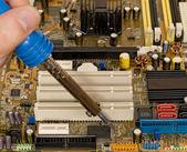 Printed circuit board repair work — Stock Photo