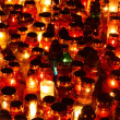 Red, yellow and green candles - Stock Photo