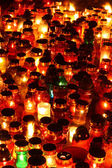 Red, yellow and green candles — Stock Photo