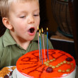Royalty-Free Stock Photo: Young boy is blowing candles