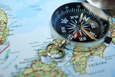 Compass on map — Stock fotografie