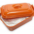 Opened plastic box with foodstuff — Stock Photo