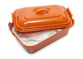 Opened plastic box with foodstuff — 图库照片