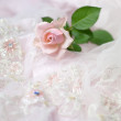 Pink rose on wedding lace (copy space) — Stock Photo #3935496