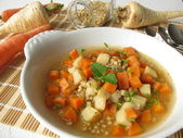 Vegetable stew with carrots, root parsley and buckwheat — Stock Photo