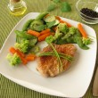 Stock Photo: Steamed vegetable with pork cutlet