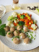 Tsampa dumplings with vegetables — Stock Photo