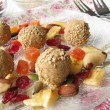 Tsampa dumplings with fruit and nut mix - Stock Photo